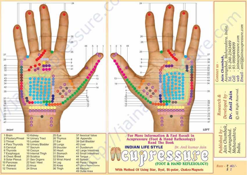 planche de réflexologie des mains