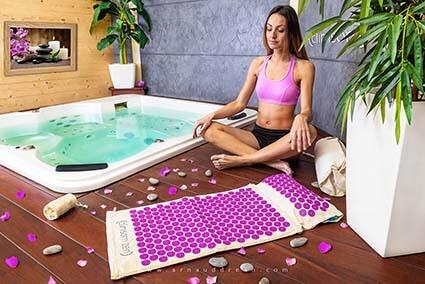 Ensemble Oreiller Tapis Acupression Massage Dos Cou R/éduit le Stress M/éditation Yoga Quotidien